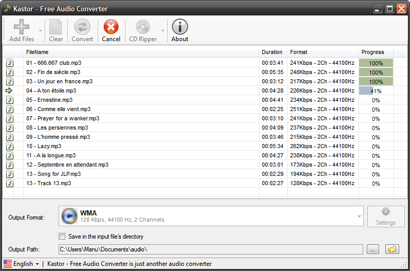 Click to view Free Mp3 M4a Wma Converter 1.3 screenshot