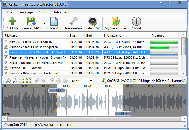 Extract, Convert entire or parts of your FLV, MP4, AVI, WMV, ASF, MOV, MP3, WMA, M4A, AAC, WAV files. Save to Mp3, Wma, Ogg, Wav, Flac...